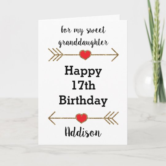 Granddaughter Happy 17th Birthday Card Zazzle