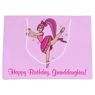 Granddaughter Happy Birthday Ballerina with Bow Large Gift Bag