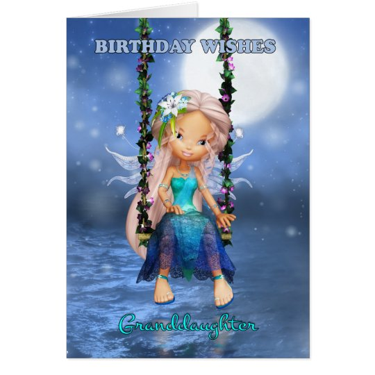 Granddaughter Happy Birthday cute fairy Card