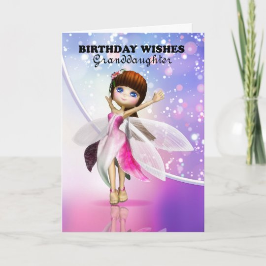 Granddaughter, Happy Birthday cute fairy dancing Card