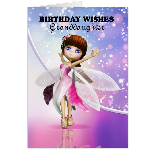 Granddaughter, Happy Birthday cute fairy dancing Card