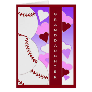Granddaughter I Love U > Than Baseball Valentine Card