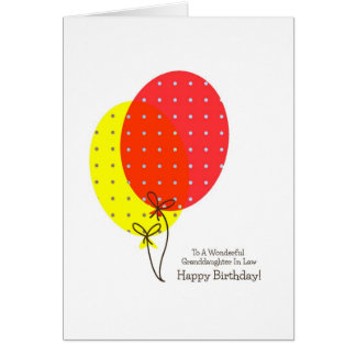 Granddaughter In Law Birthday Cards Balloons