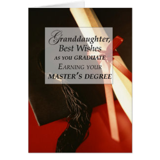 Granddaughter Master's Degree Graduation Wishes Card
