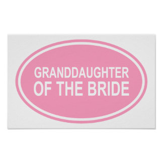 Granddaughter of the Bride Wedding Oval Pink Print