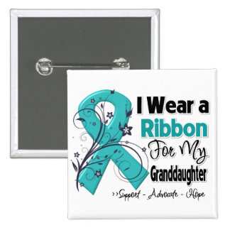 Granddaughter - Ovarian Cancer Ribbon 15 Cm Square Badge