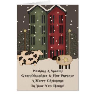 Granddaughter & Partner 1st Christmas in New Home Card