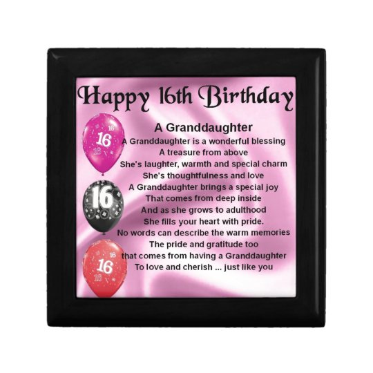 Granddaughter Poem 16th Birthday Small Square Gift Box