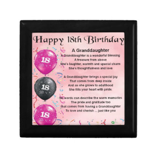 Granddaughter Poem - 18th Birthday Small Square Gift Box