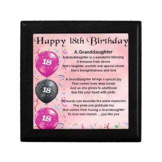 Granddaughter Poem - 18th Birthday Small Square Gift Box