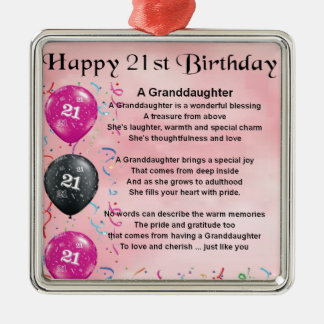 Granddaughter Poem - 21st Birthday Christmas Ornament