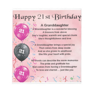 Granddaughter Poem - 21st Birthday Notepad