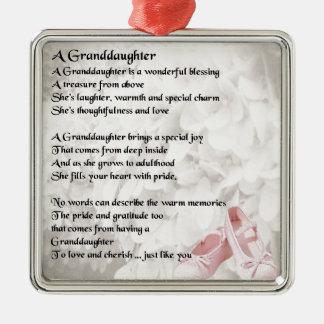 Granddaughter Poem - Ballet Shoes Design Silver-Colored Square Decoration