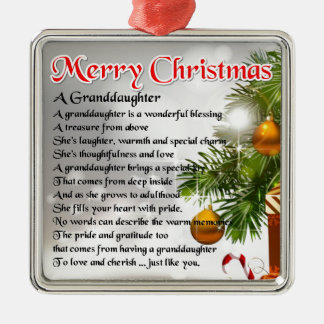 Granddaughter Poem - Christmas Design Christmas Ornament