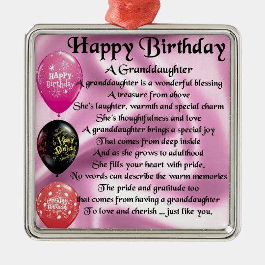 Granddaughter Poem - Happy Birthday Design Christmas Ornament