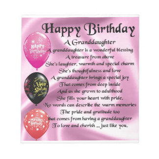Granddaughter Poem - Happy Birthday Design Notepad