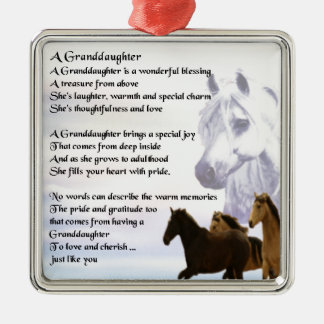 Granddaughter Poem - Horses Design Christmas Ornament