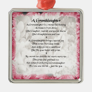 Granddaughter Poem - Pink Floral Design Christmas Ornament