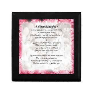 Granddaughter Poem - Pink Floral Design Gift Box