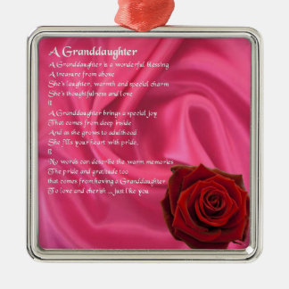 Granddaughter Poem - pink silk & rose Christmas Ornament