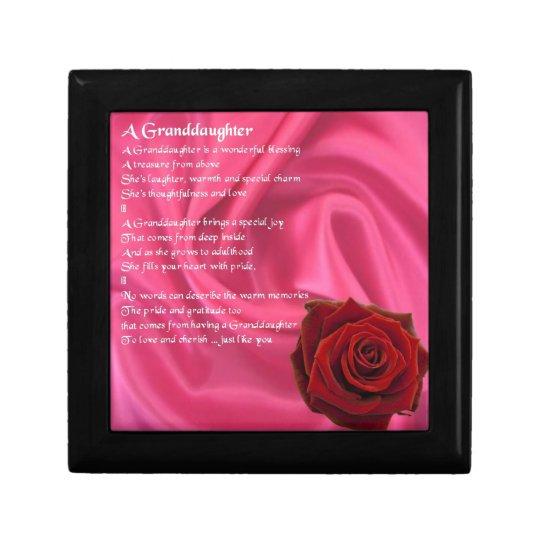 Granddaughter Poem - pink silk & rose Gift