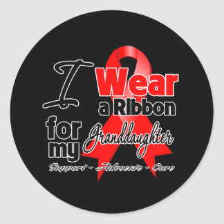 Granddaughter - Red Ribbon Awareness Round Stickers