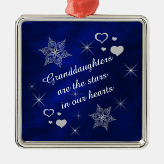 Granddaughter Star Heart Keepsake Silver-Colored Square Decoration