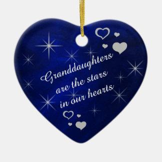 Granddaughter Star Heart Keepsake Ceramic Heart Decoration
