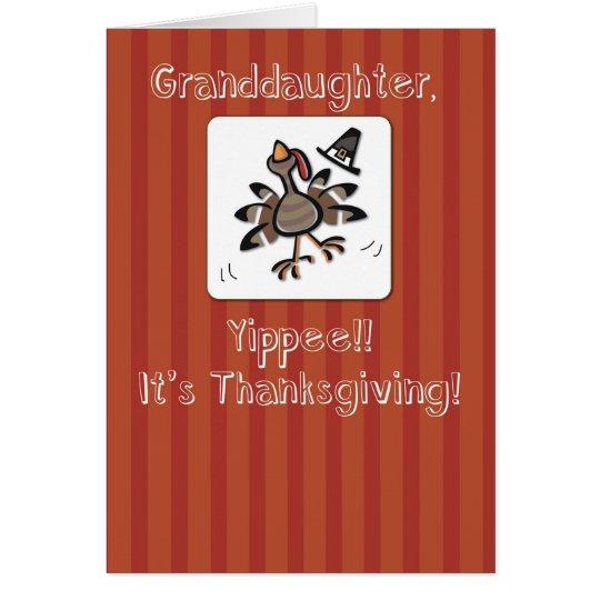 Granddaughter, Thanksgiving Turkey, Religious Card
