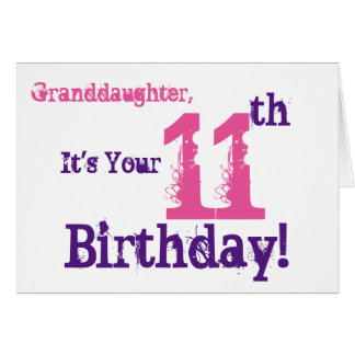 Granddaughter's 11th birthday in purple, pink. greeting card