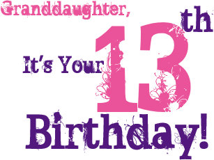 Granddaughters 13th Birthday In Purple Pink Card