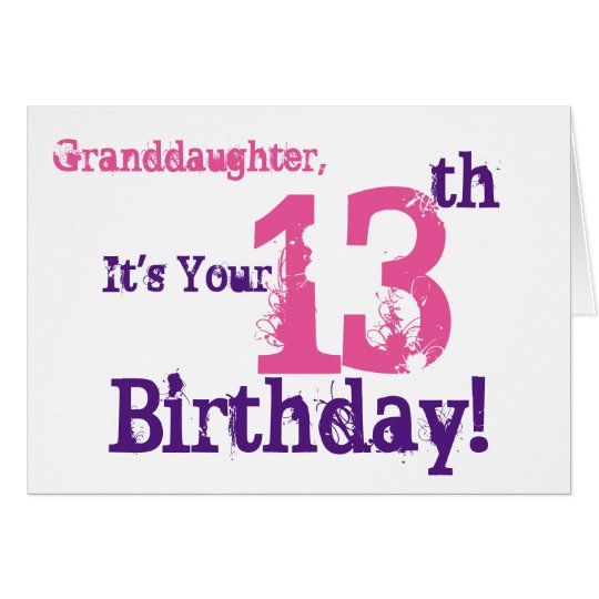 Granddaughter's 13th birthday in purple, pink. card