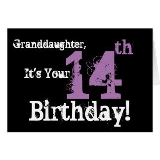 Granddaughter's 14th birthday, black, purple. card