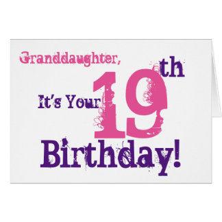 Granddaughter's 19th birthday in purple, pink. card