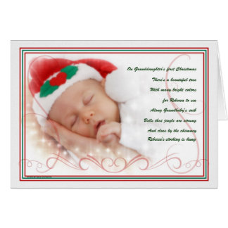 Granddaughter's 1st Christmas Baby's Name in Poem Greeting Card
