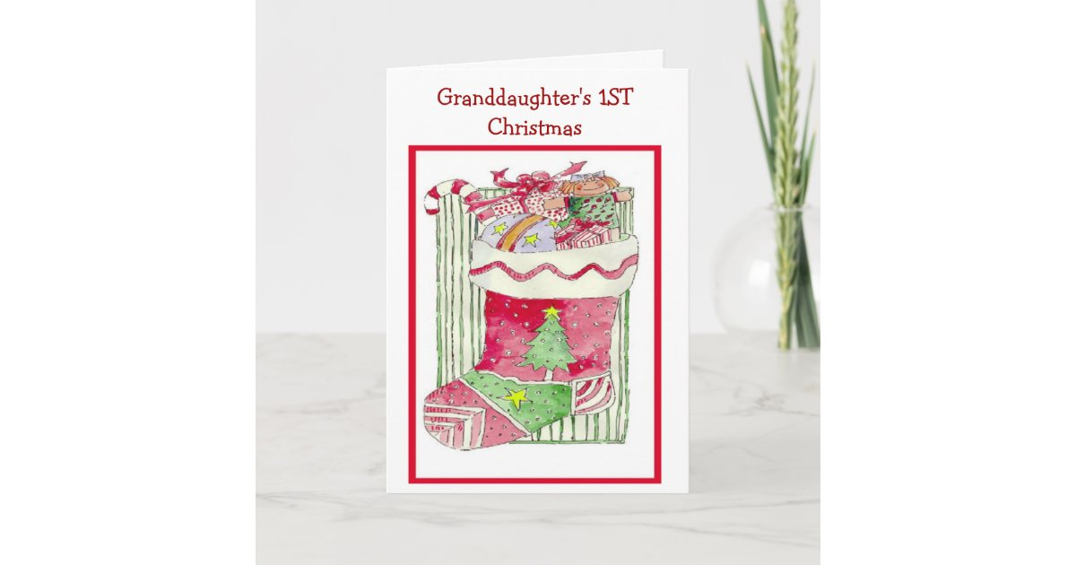 Granddaughter's 1ST Christmas - Greeting Card | Zazzle.co.uk