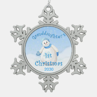 Granddaughter's 1st Christmas Snowman Snowflake Pewter Christmas Ornament