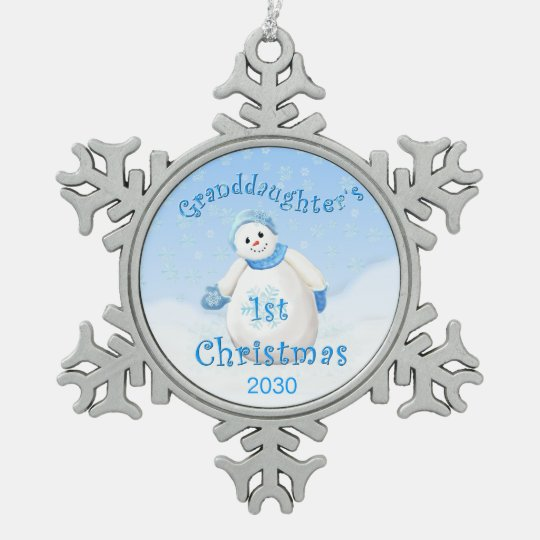 Granddaughter's 1st Christmas Snowman Snowflake Pewter