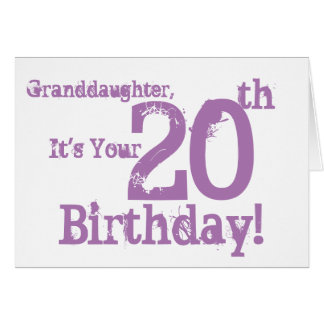 Granddaughter's 20th birthday in purple. card