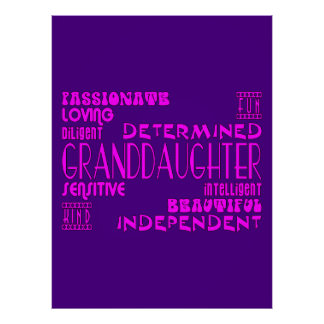 Granddaughters Birthday Party Christmas Qualities Posters