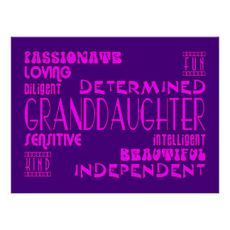 Granddaughters Birthday Party Christmas Qualities Poster