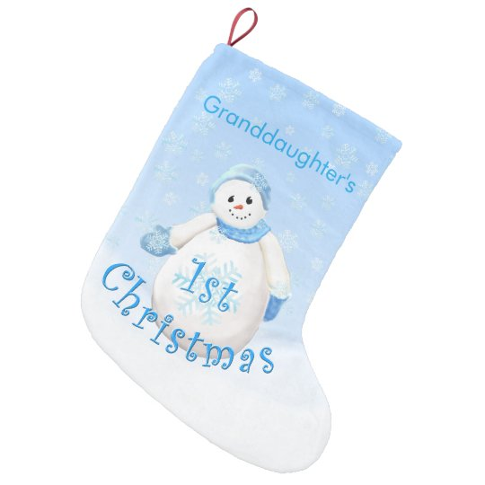 Granddaughter's First Christmas Snowman Small Christmas Stocking