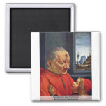 Grandfather And Grandson By Domenico Ghirlandaio Square Magnet