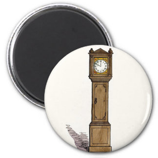 Grandfather Clock 6 Cm Round Magnet