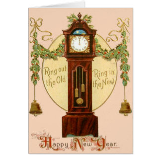 Grandfather Clock Holly Mistletoe Bell Greeting Card