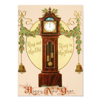 Grandfather Clock Holly Mistletoe Bell 13 Cm X 18 Cm Invitation Card