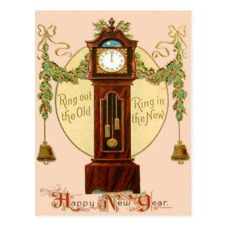 Grandfather Clock Holly Mistletoe Bell Postcard