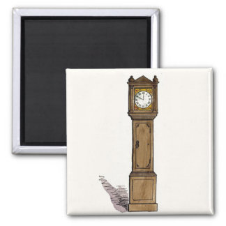 Grandfather Clock Square Magnet