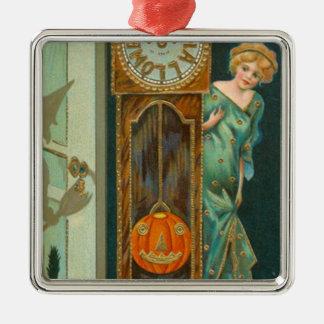 Grandfather Clock Witch Pumpkin Black Cat Silver-Colored Square Decoration