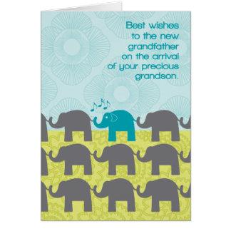 Grandfather Congrats New Grandson Cute Elephants Greeting Card